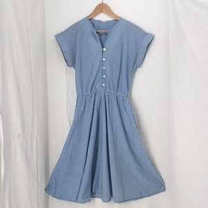 Vintage 80s dress blue Chevron with pockets!